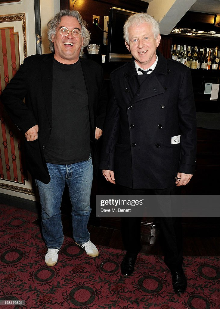 Paul Greengrass (L) and Richard Curtis pose in the foyer following the press night performance of 'The Audience' at the Gielgud Theatre on March 5, 2013 in London, England.