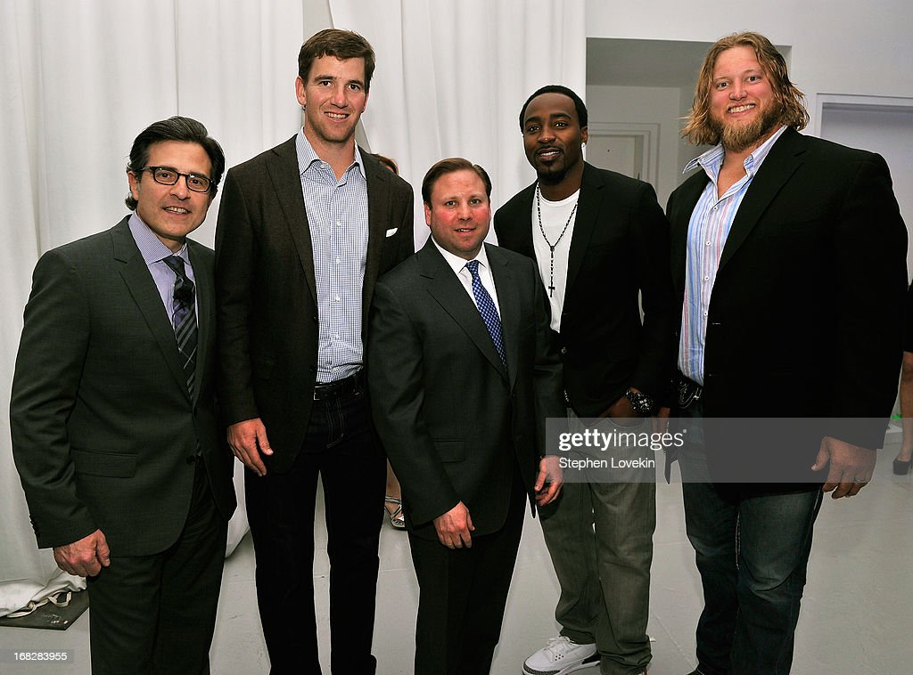 Paul Guyardo, Eli Manning, Keith Kazerman, Hakeem Nicks, and Nick Mangold attend DIRECTV's 2013 National Ad Sales Upfront on May 7, 2013 in New York City.