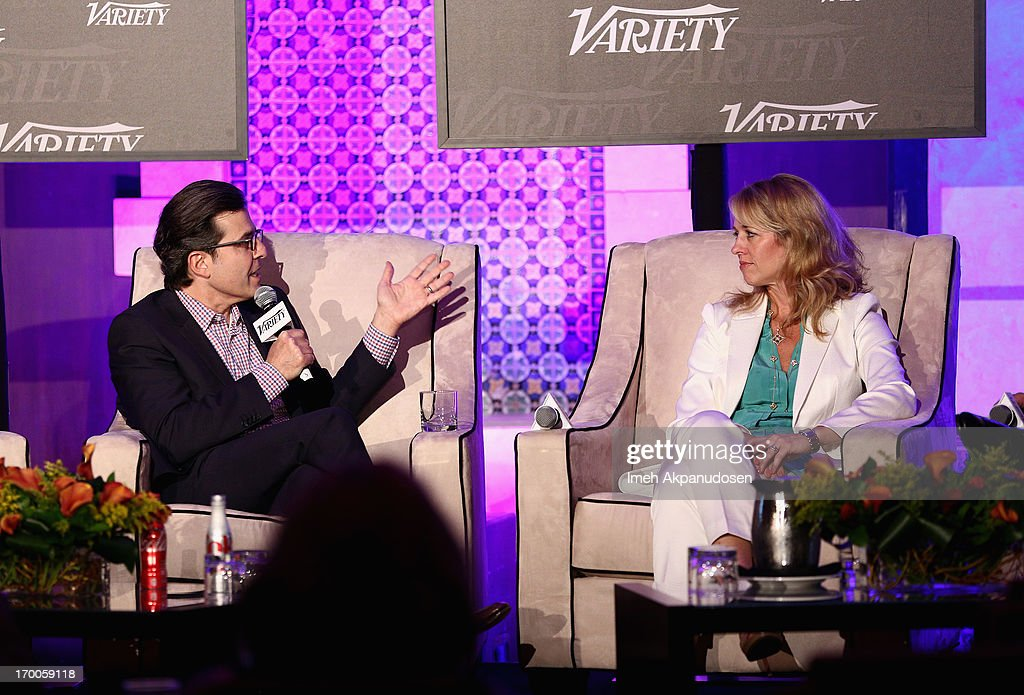 Paul Guyardo, EVP, Chief Revenue Officer and CMO DirecTV (L) and Pamela Kaufman, CMO Nickelodeon speak during the 'Chief Marketing Officer Roundtable' panel at Variety Presents