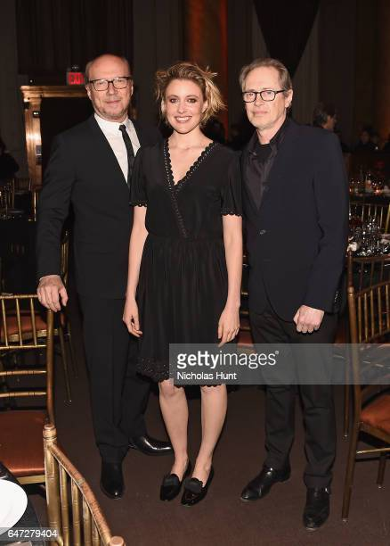 Paul Haggis Greta Gerwig and Steve Buscemi attend The Anthology Film Archives Benefit and Auction on March 2 2017 in New York City