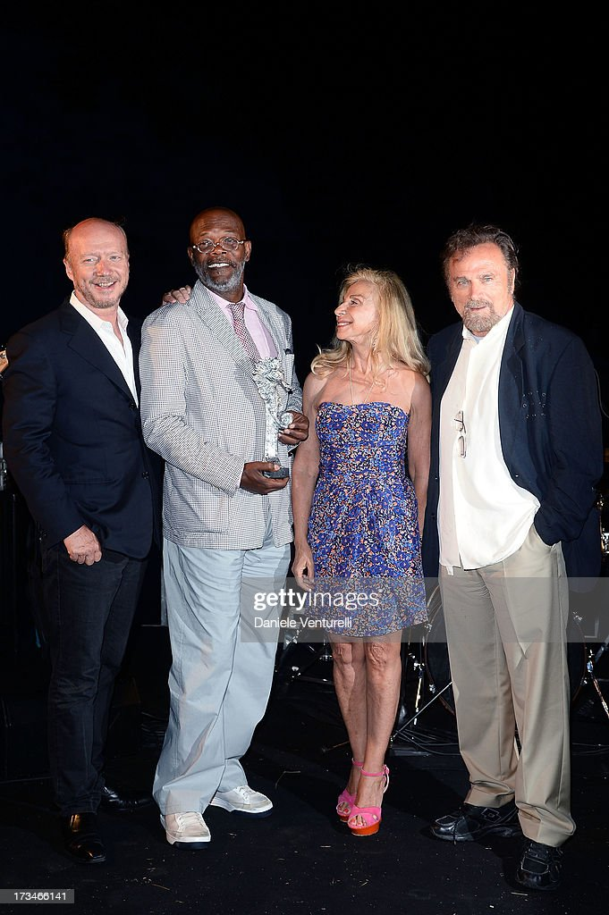Paul Haggis, Samuel L. Jackson, Francesca Lo Schiavo and Franco Nero attend Day 2 of the 2013 Ischia Global Fest on July 14, 2013 in Ischia, Italy.