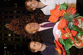 Paul Hamm Mayor Michael Bloomberg and Sarah Hughes