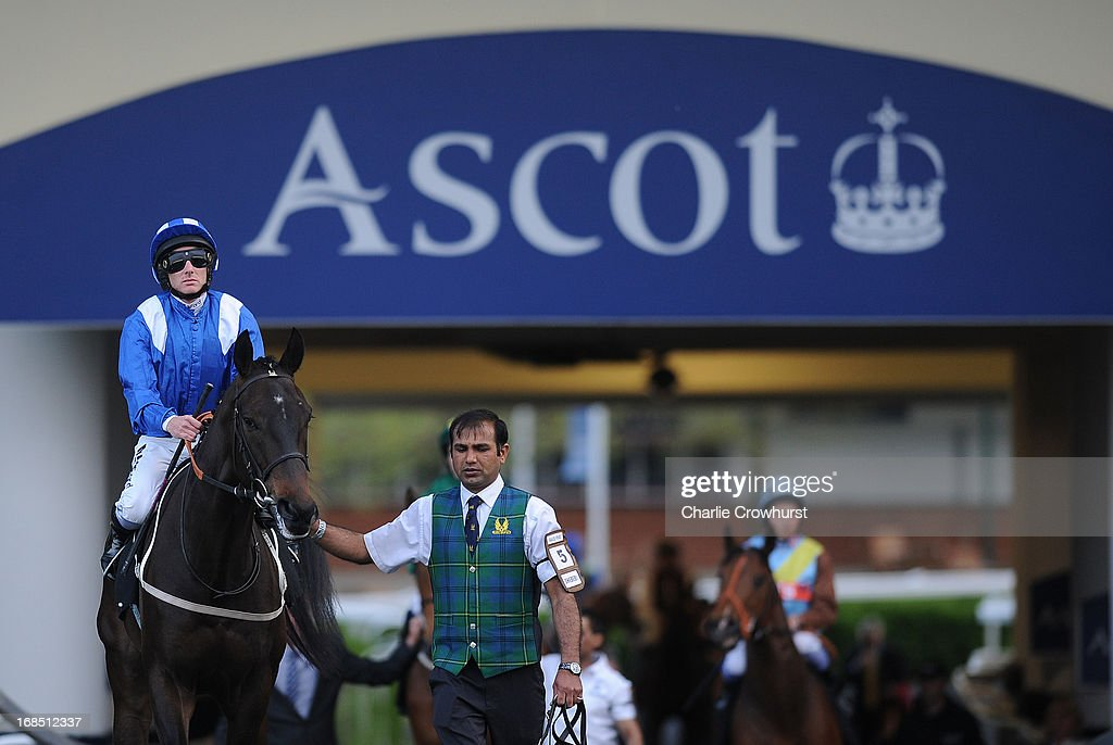 Paul Hanagan on Shebebi is led out to the track at Ascot racecourse on May 10, 2013 in Ascot, England.