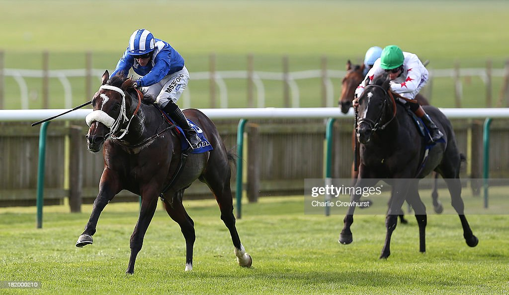 Paul Hanagan rides Soft Falling Rain to win The Nayef Joel Stakes at Newmarket racecourse on September 27, 2013 in Newmarket, England.