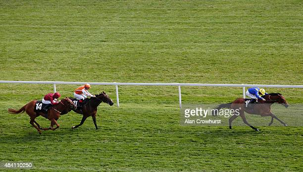 Paul Hanagan riding Kastini win The Betfred 'Still Treble Odds On Lucky 15's' Handicap Stakes at Newbury racecourse on August 15 2015 in Newbury...