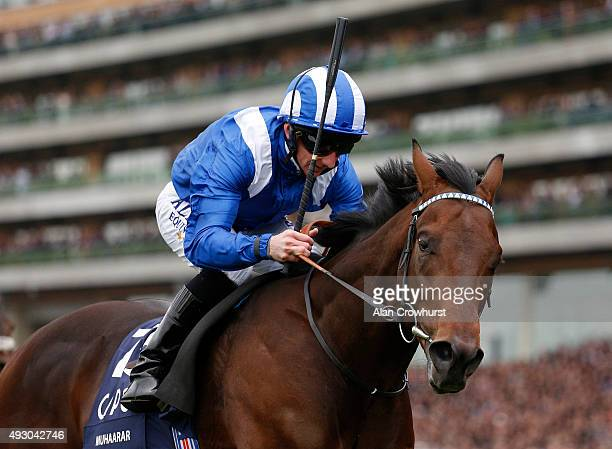 Paul Hanagan riding Muhaarar win The Qipco British Champions Sprint Stakes at Ascot racecourse on October 17 2015 in Ascot England