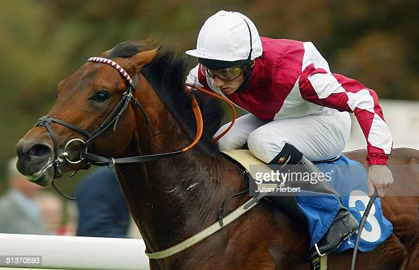 Paul Hanigan and Sudden Dismissal land The Portway EBF Novice Stakes Race run at Salisbury Racecourse on September 29 2004 at Salisbury England