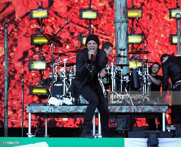 Paul Harding from Pendulum perform on the Pyraid Stage at Glastonbury Festival on June 26 2011 in Glastonbury England