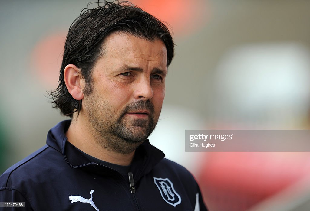 Paul Hartley manager of Dundee during the Pre Season Friendly match between Morecambe and Dundee at the Globe Arena on July 19 2014 in Morecambe...