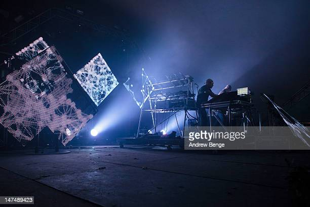 Paul Hartnoll and Phil Hartnoll of Orbital performs on stage during Beat Herder Festival at Ribble Valley on June 30 2012 in Clitheroe United Kingdom