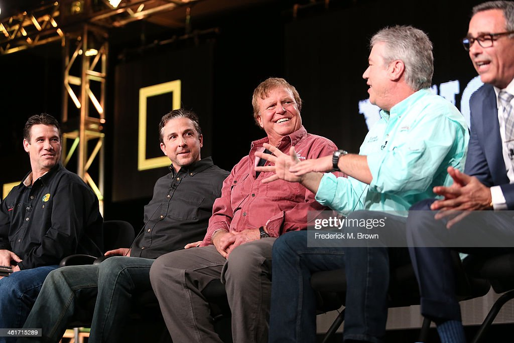 Paul Hebert, Dave Cararro, Bill Monte, Bill Muniz, Creator/Executive Producer Craig Piligian speak onstage during the 'National Geographic Channel - Wicked Tuna' panel discussion at the National Geographic Channels portion of the 2014 Winter Television Critics Association tour at the Langham Hotel on January 10, 2014 in Pasadena, California.