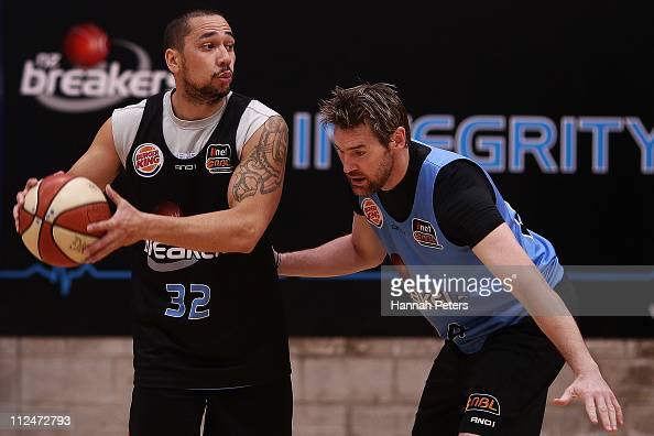 Paul Henare runs through drills with Dillon Boucher of the Breakers during a New Zealand Breakers NBL training session at the Breakers Gym on April...