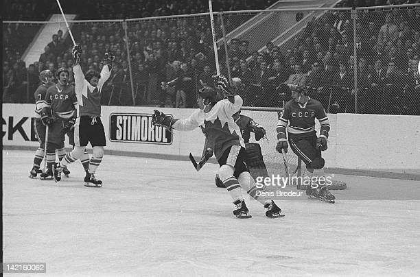 Paul Henderson and Bobby Clarke of Team Canada celebrate Henderson's serieswinning goal in Game 8 of the 1972 Summit Series between Canada and the...