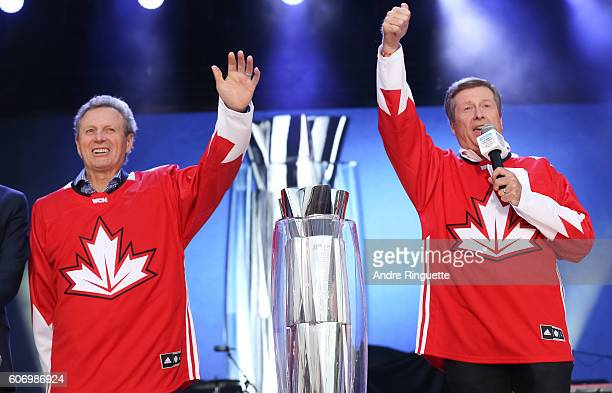 Paul Henderson and John Tory on stage at the opening ceremonies during the World Cup of Hockey 2016 at the Scotiabank Fan Village on September 16...