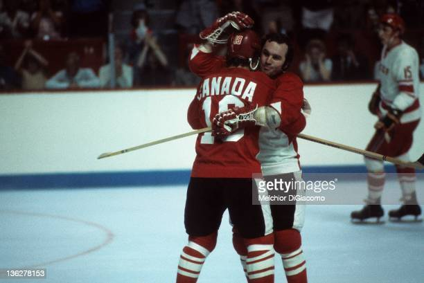 Paul Henderson and Ron Ellis of Canada celebrate during their game against the Soviet Union in Game 1 of the 1972 Summit Series on September 2 1972...