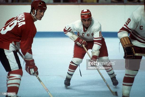 Paul Henderson of Canada and Yevgeny Zimin of the Soviet Union wait for the faceoff during Game 1 of the 1972 Summit Series on September 2 1972 at...