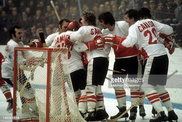 Paul Henderson of Canada celebrates with teammates after scoring the gamewinning goal against the Soviet Unioin during Game 7 of the 1972 Summit...