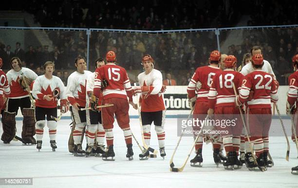 Paul Henderson of Canada shakes hands with Alexander Yakushev of the Soviet Union during the 1972 Summit Series in September 1972 at the Luzhniki Ice...