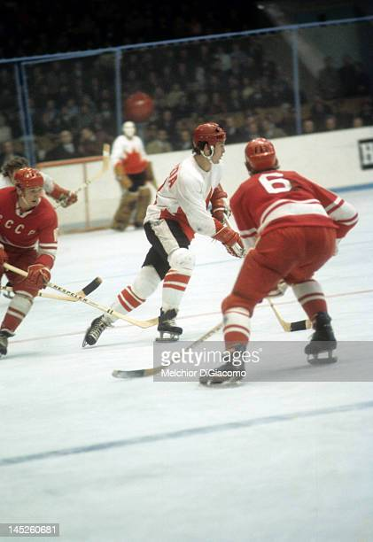 Paul Henderson of Canada skates with the puck during the 1972 Summit Series against the Soviet Union in September 1972 at the Luzhniki Ice Palace in...