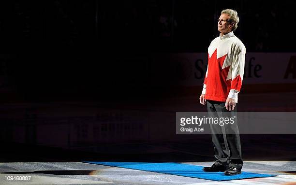 Paul Henderson takes part in a pregame ceremony prior to game action between the Toronto Maple Leafs and the Pittsburgh Penguins February 26 2011 at...