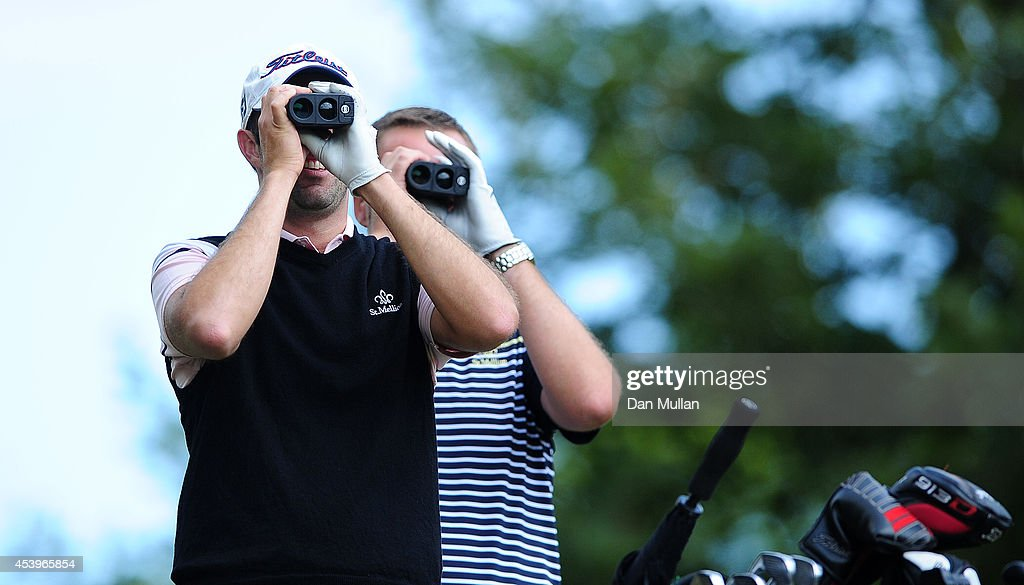 Paul Hendricksen of Dinnaton Golf Club looks down the fairway with his partner Dean Whitelock of St Mellion Golf Country Club on the 11th hole during...