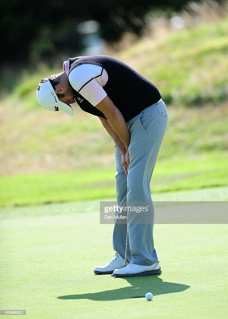 Paul Hendricksen of Dinnaton Golf Club reacts after missing a putt on the 17th hole during day three of the Golfbreaks.com PGA Fourball Championship at St. Mellion International Resort on August 22, 2014 in Saltash, England.