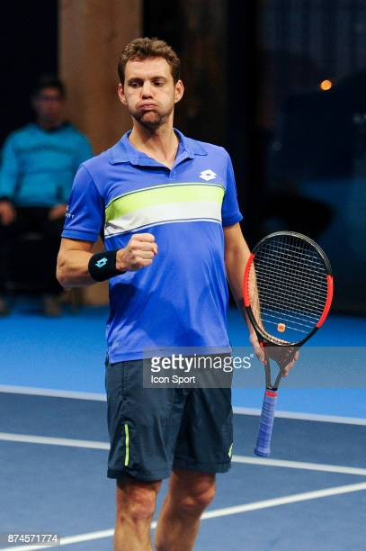 Paul Henri Mathieu celebrates during the French Team Championships match between Boulogne Billancourt and Colomiers on November 15 2017 in...
