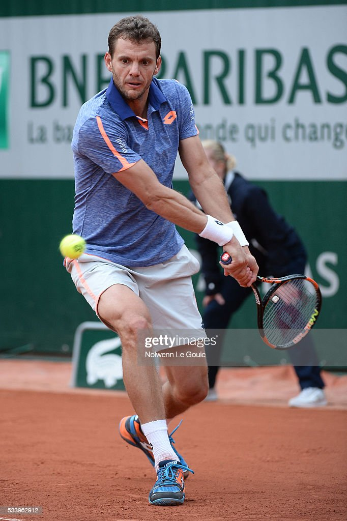 Paul Henri Mathieu during the Men's Singles first round on day three of the French Open 2016 at Roland Garros on May 24, 2016 in Paris, France.