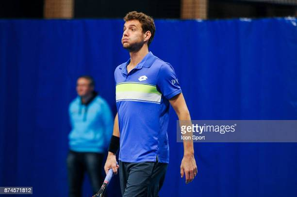 Paul Henri Mathieu looks dejected during the French Team Championships match between Boulogne Billancourt and Colomiers on November 15 2017 in...