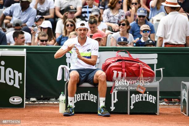 Paul Henri Mathieu of France during qualifying match of the 2017 French Open at Roland Garros on May 24 2017 in Paris France