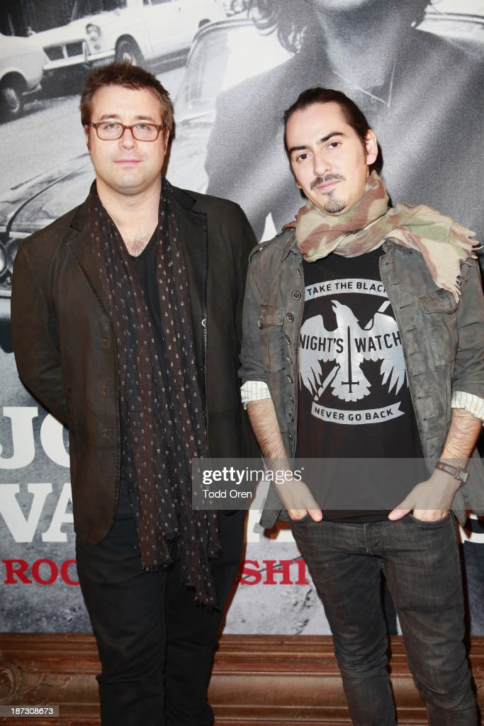 DJ Paul Hicks (L); DJ/musician Dhani Harrison (R) arrive to the 'John Varvatos: Rock In Fashion book launch celebration held at John Varvatos Los Angeles on November 7, 2013 in Los Angeles, California.
