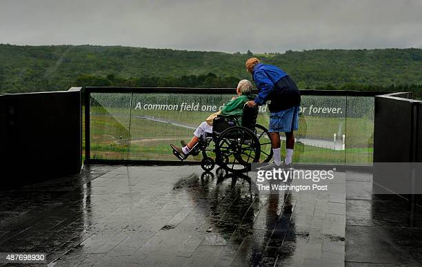 Paul Hoffman and his wife of 58 years Carol Hoffman check out the view of the Flight 93 crash site from the balcony of the new visitor center They...