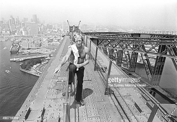 Paul Hogan during his time as a rigger on the Sydney Harbour Bridge on 30 January 1976