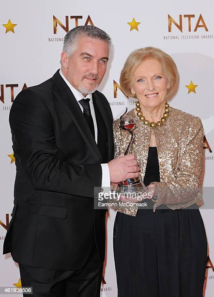 Paul Hollywood and Mary Berry pose in the winners room at the National Television Awards at 02 Arena on January 21 2015 in London England