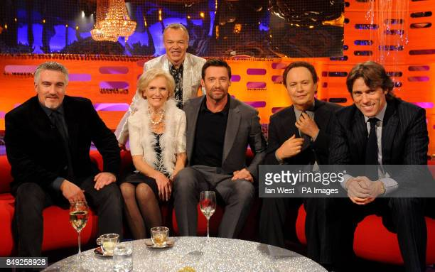 Paul Hollywood Mary Berry Graham Norton Hugh Jackman Billy Crystal and John Bishop during filming of the New Year's Eve edition of the Graham Norton...