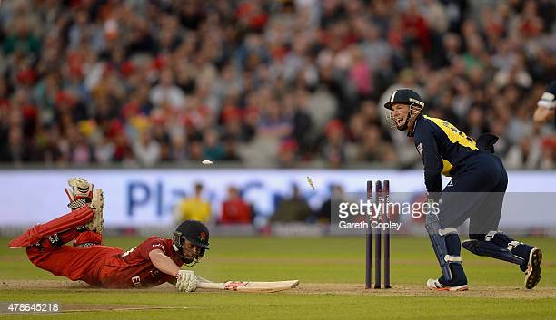Paul Horton of Lancashire is run out by Birmingham Bears wicketkeeper Tim Ambrose during the NatWest T20 Blast match between Lancashire Lighting and...