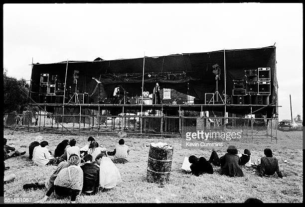 Paul Humphreys and Andy McCluskey of British duo OMD performing at Leigh Open Air Festival 27th August 1979 They are using backing tracks played on a...