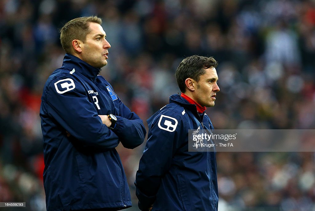 Paul Hurst, Joint Manager and Rob Scott, Joint Manager of Grimsby Town look on from the side line during the FA Trophy Final between Wrexham and Grimsby Town at Wembley Stadium on March 24, 2013 in London, England.