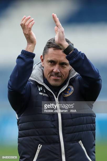 Paul Hurst Manager / Head Coach of Shrewsbury Town applauds the fans at full time during the Sky Bet League One match between Oldham Athletic and...