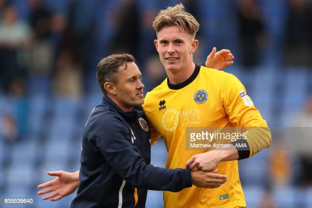Paul Hurst manager of Shrewsbury Town and Dean Henderson at the end of the game during the Sky Bet League One match between Shrewsbury Town and...