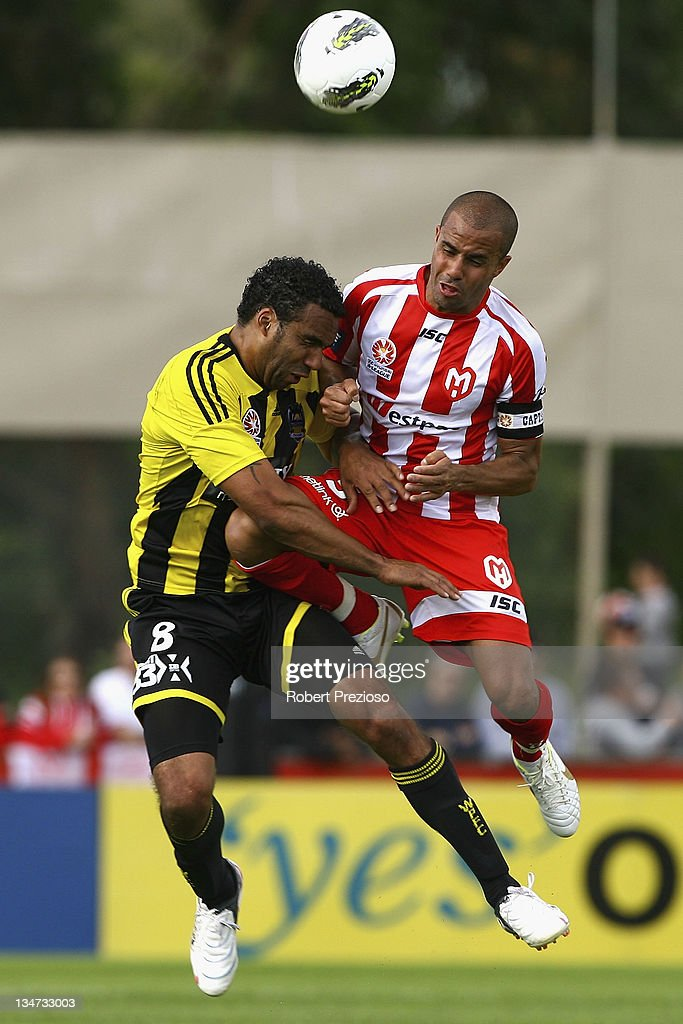 Paul Ifill of the Phoenix and Fred of the Heart contest the ball during the round nine A-League match between the Melbourne Heart and the Wellington Phoenix at Latrobe City Sports & Entertainment Complex on December 4, 2011 in Melbourne, Australia.