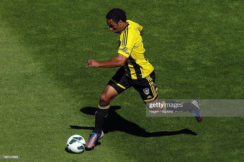 Paul Ifill of the Phoenix dribbles the ball during the round 18 A-League match between the Wellington Phoenix and the Newcastle Jets at Westpac Stadium on January 27, 2013 in Wellington, New Zealand.