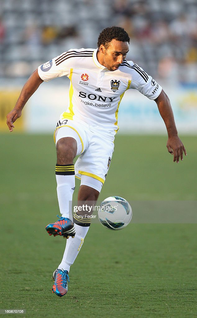 Paul Ifill of the Phoenix in control of the ball during the round 20 A-League match between the Central Coast Mariners and the Wellington Phoenix at Bluetongue Stadium on February 7, 2013 in Gosford, Australia.