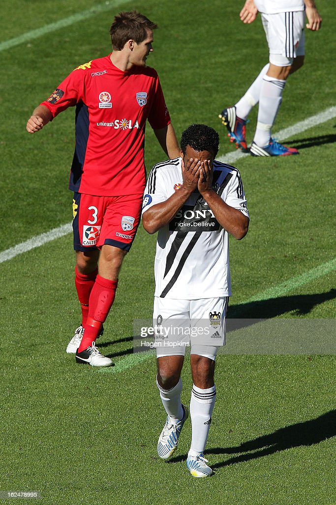 Paul Ifill of the Phoenix reacts after missing a shot at goal during the round 22 A-League match between the Wellington Phoenix and Adelaide United at Westpac Stadium on February 24, 2013 in Wellington, New Zealand.
