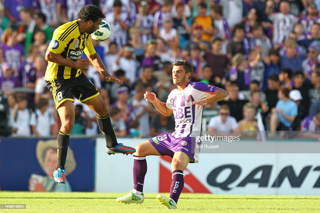 Paul Ifill of the Wellington Phoenix heads the ball during the round 25 A-League match between the Perth Glory and the Wellington Phoenix at nib Stadium on March 17, 2013 in Perth, Australia.