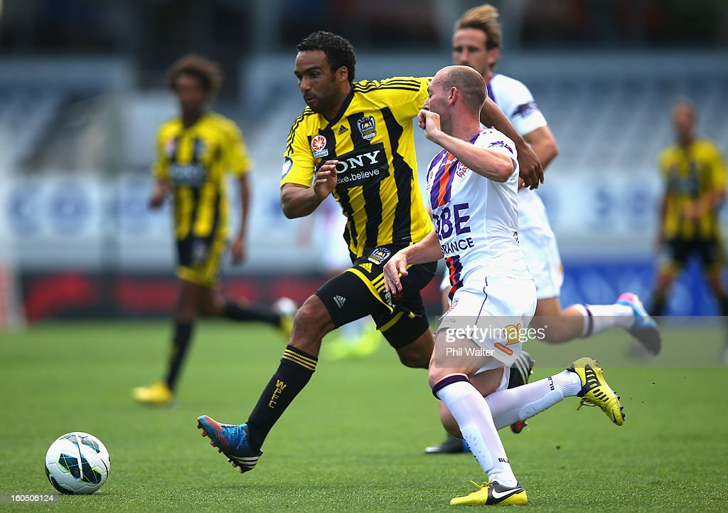 Paul Ifill of Wellington runs the ball forward during the round 19 A-League match between the Wellington Phoenix and the Perth Glory at Eden Park on February 2, 2013 in Auckland, New Zealand.