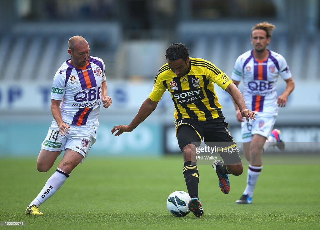 <a gi-track='captionPersonalityLinkClicked' href=/galleries/search?phrase=Paul+Ifill&family=editorial&specificpeople=234885 ng-click='$event.stopPropagation()'>Paul Ifill</a> of Wellington takes the ball forward during the round 19 A-League match between the Wellington Phoenix and the Perth Glory at Eden Park on February 2, 2013 in Auckland, New Zealand.