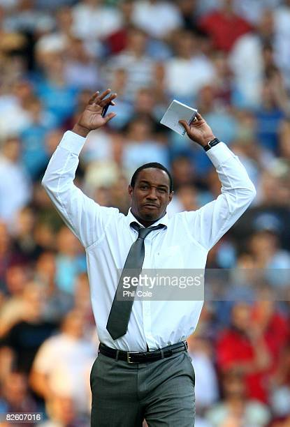 Paul Ince Manager of Blackburn Rovers throws his hands up during the Barclays Premier League match between West Ham United and Blackburn Rovers at...