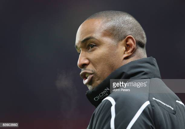 Paul Ince of Blackburn Rovers shouts instructions from the touchline during the Carling Cup QuarterFinal match between Manchester United and...