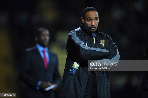 Paul Ince of Notts County gestures from the touchline in front of Chris Powell of Charlton Athletic during the npower League One match between Notts...